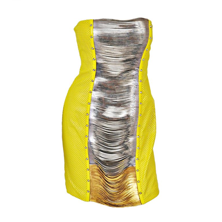VERSACE YELLOW LEATHER METAL PANEL DRESS | From a collection of rare vintage evening dresses at http://www.1stdibs.com/fashion/clothing/evening-dresses/