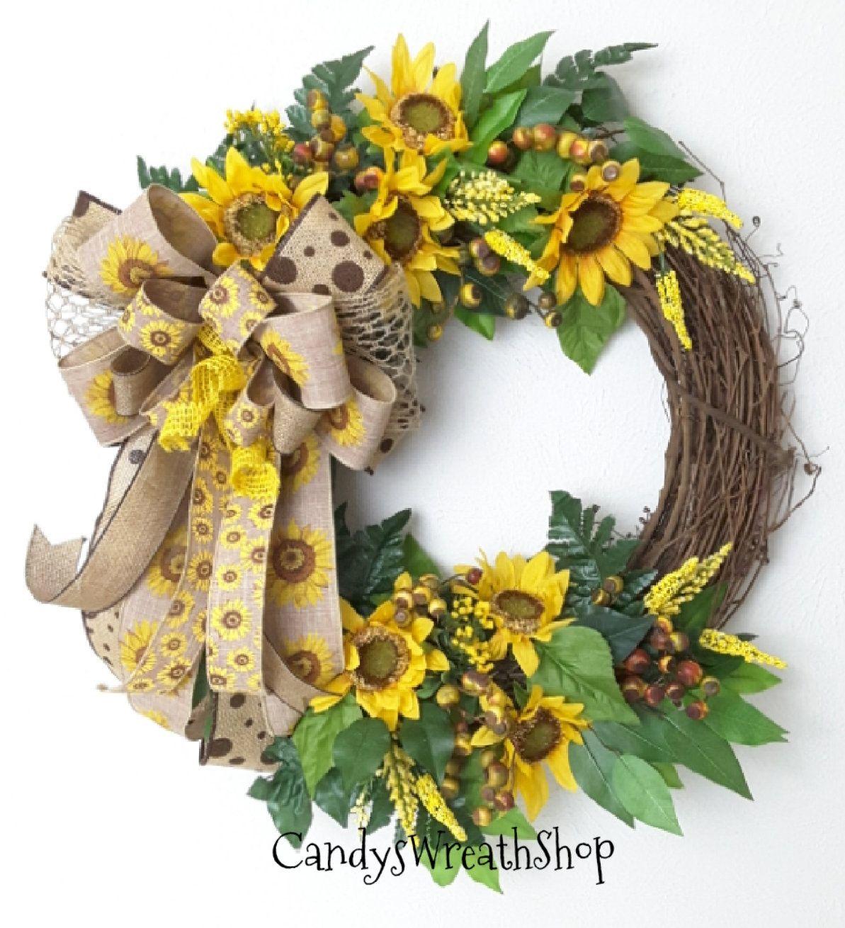 Photo of Sonnenblumen-Weinkranz, Sommersonnenblumenkranz, Blumenrebe, Bauernhaus, Sackleinen, Weinkranz, Willkommenskranz, Alltagskranz