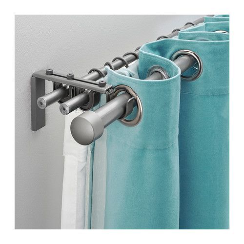 Kitchen curtains. R CKA   HUGAD Triple curtain rod combination  silver color