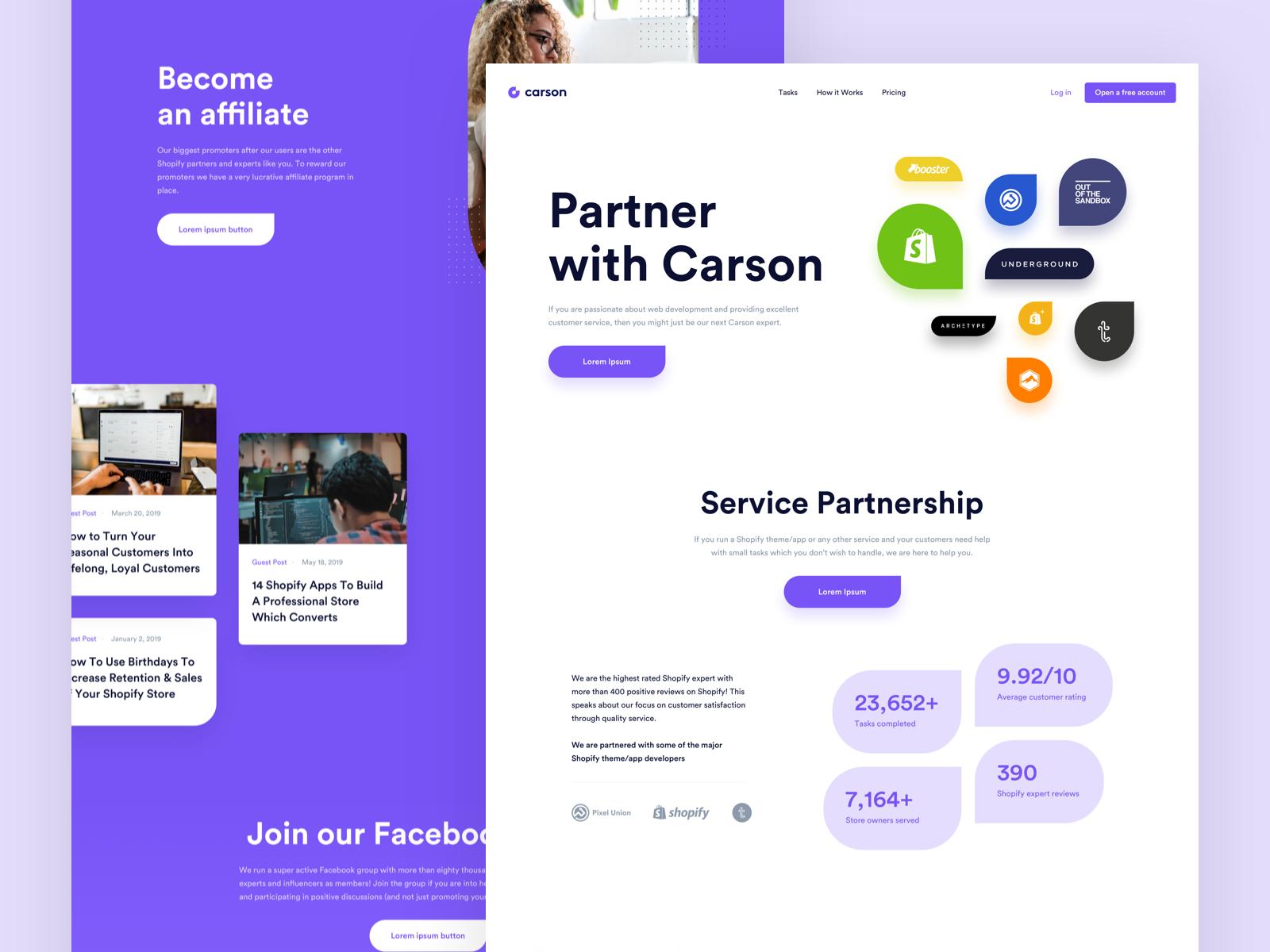 Carson Partners Page Affiliate Partner Dribbble Web Design