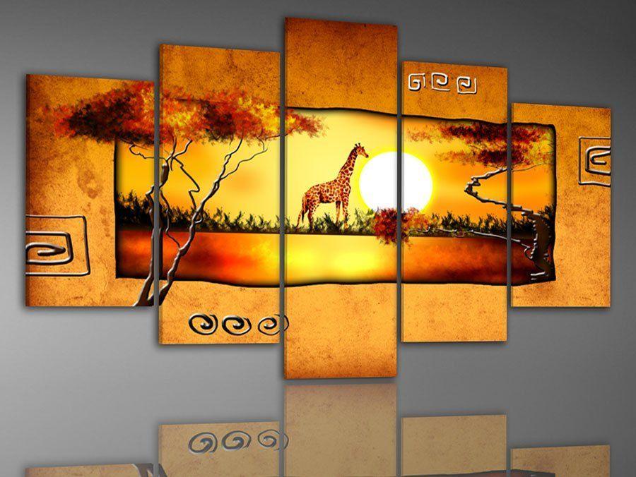 100% handmade discount abstract african canvas art landscape oil ...