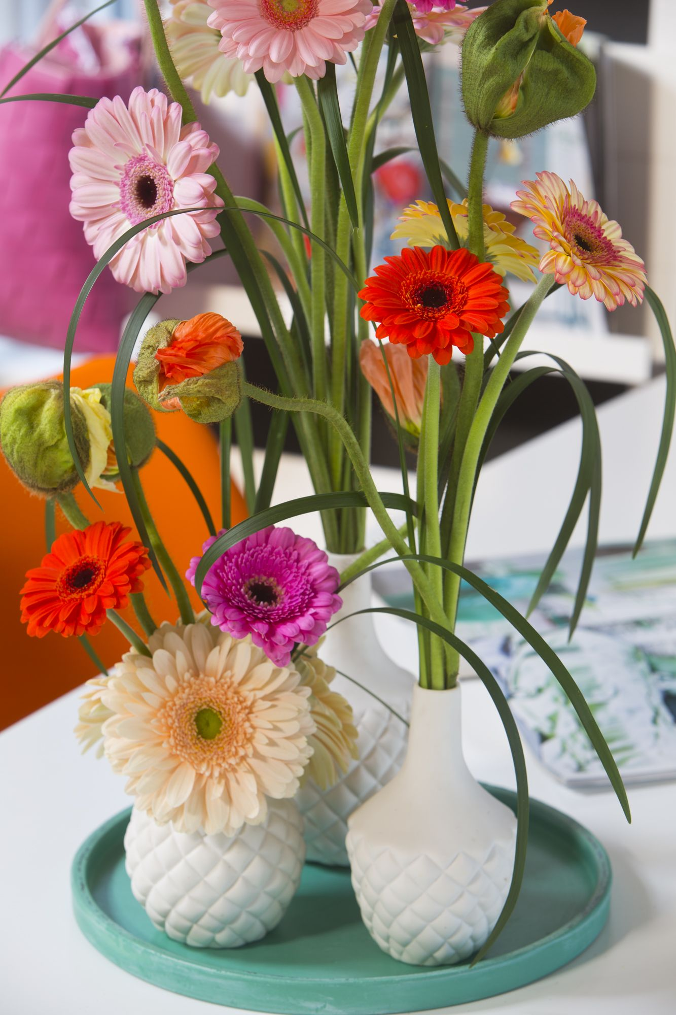 Lets Diy All You Need Are Bottles Flowers And Grasses Gerbera