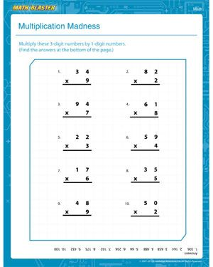 multiplication madness  printable multiplication worksheet for  multiplication madness  printable multiplication worksheet for first  graders 4 digit addition and subtraction with regrouping worksheets also math worksheets grade 6 grade 5 math patterning worksheets