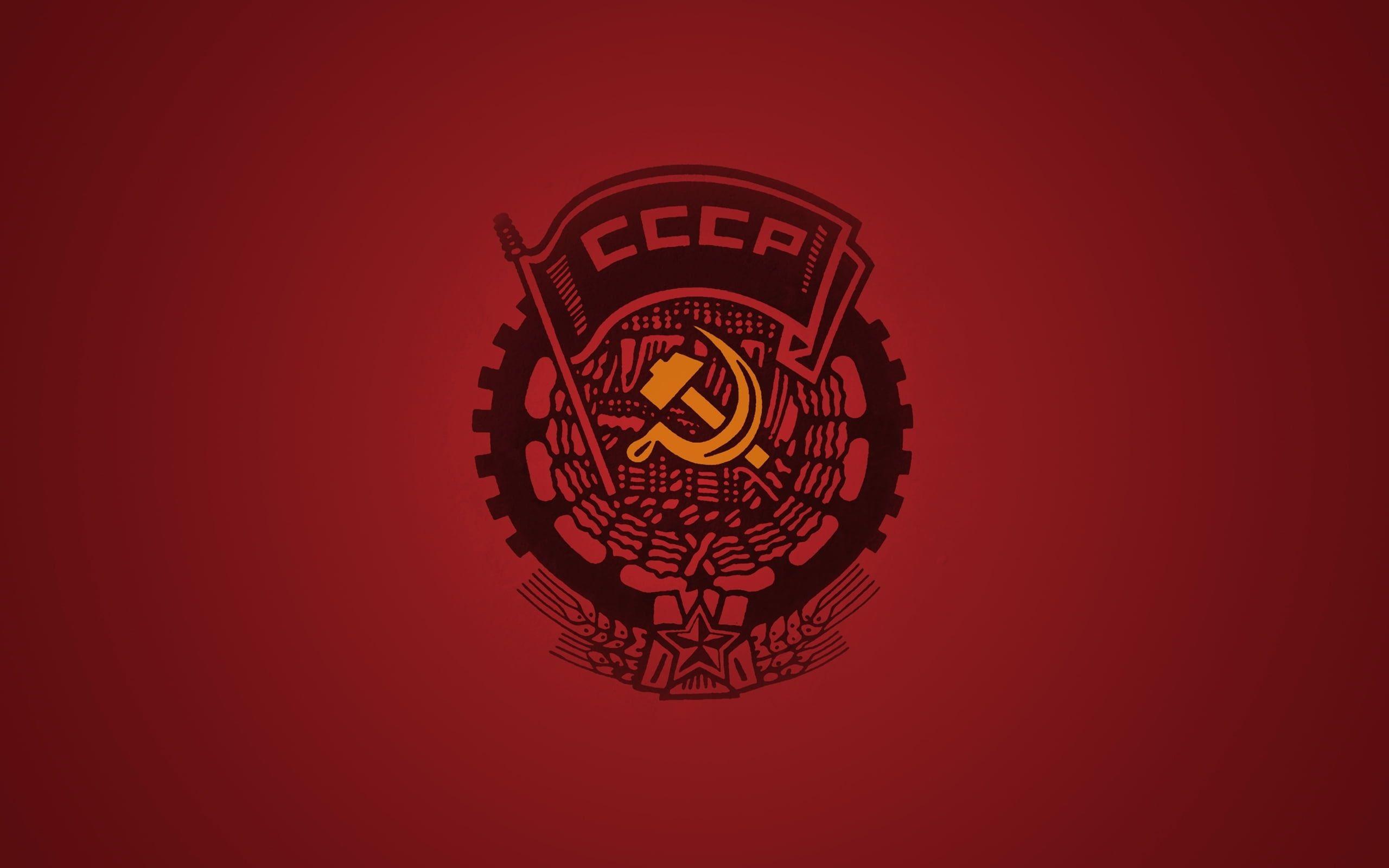 Red Background Ussr The Hammer And Sickle 2k Wallpaper Hdwallpaper Desktop In 2020 Soviet Art Hd Wallpaper Red Artwork
