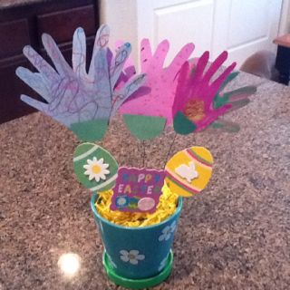 We made handprint flowers for Grandma!