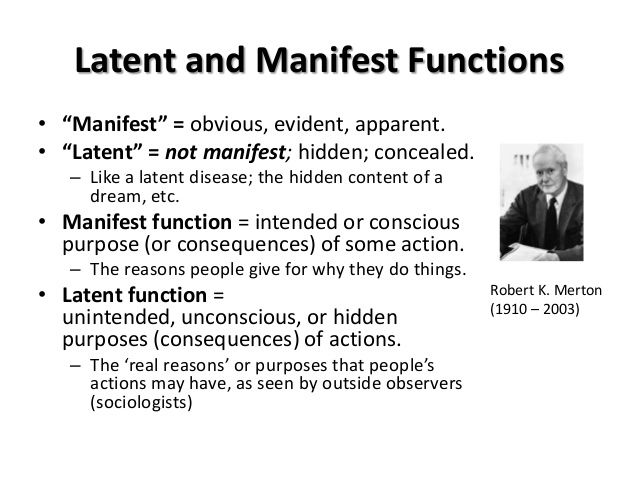 Manifest/Latent functions | Ap psychology, Study notes