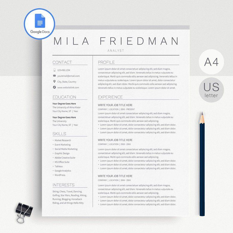 Google Docs Resume Template Simple Resume Template Google Etsy Simple Resume Template Resume Template Resume Template Free