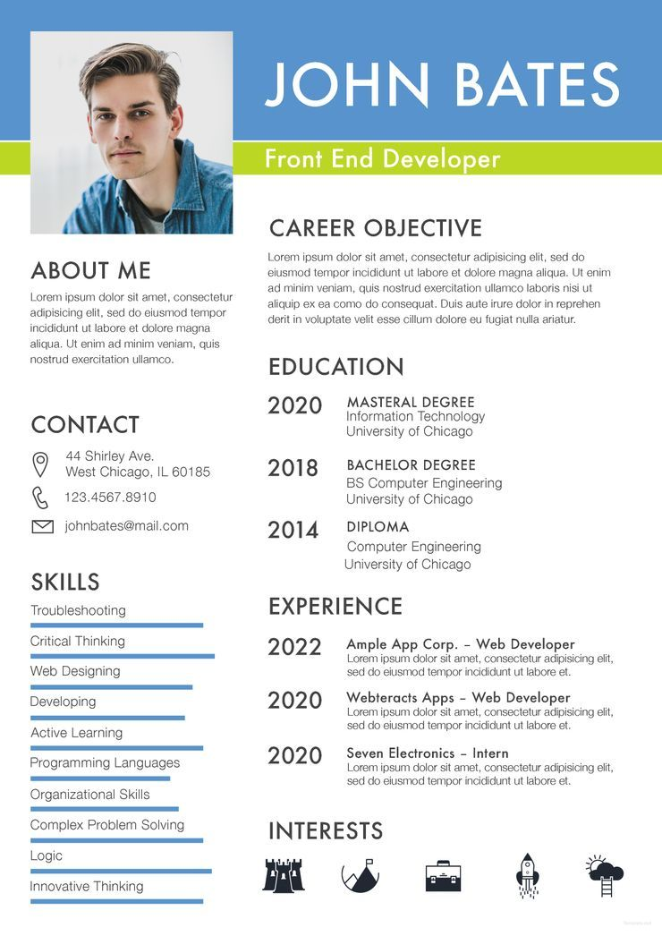 Front End Developer Resume Cv Template Word Psd Apple Pages Publisher