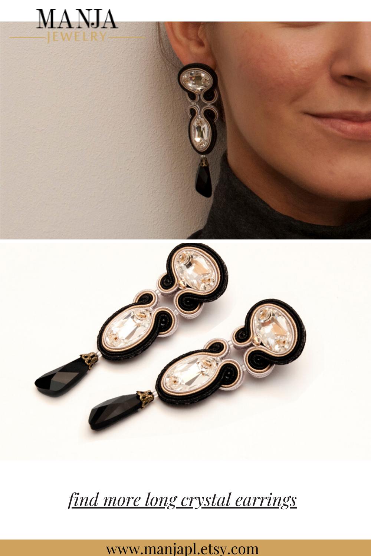 Black Gold Long Crystal Earrings Soutache earrings Evening earrings