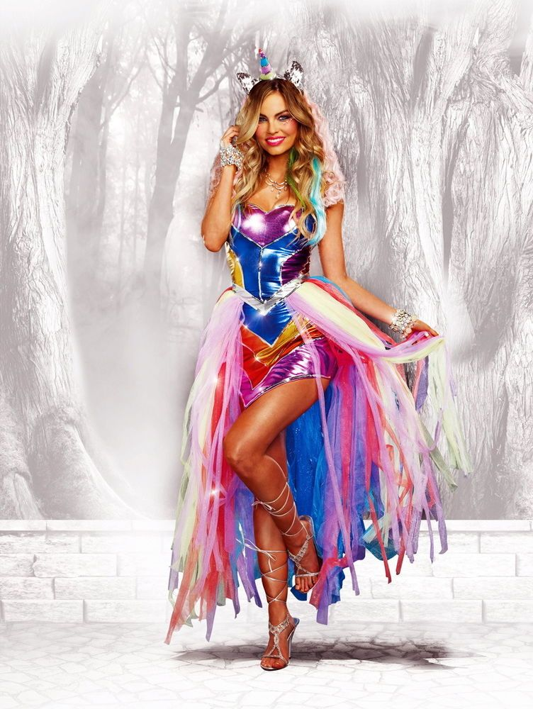 8ccf29d11f2c Sexy Rainbow Unicorn Halloween Outfit Dress Fairy Tales Costume Adult Women  #Dreamgirl