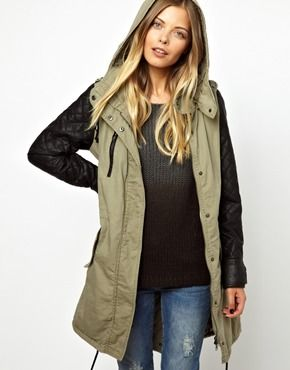 Image 1 of Vero Moda Leather Look Sleeve Parka
