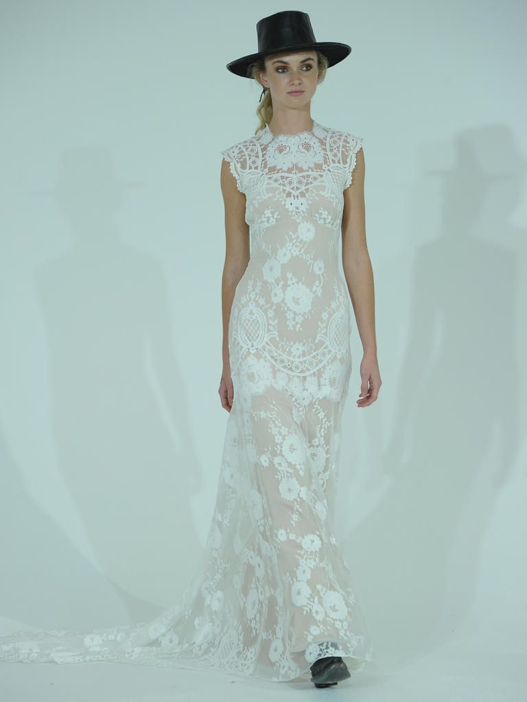 Claire Pettibone floral lace wedding dress with high neckline from Spring 2016