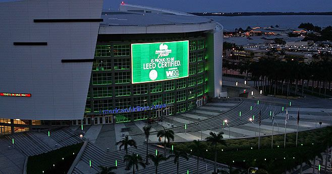 American Airlines Arena @AArena, #LEED –certified EB: OM, Miami, Florida,  key project vendors include @dadepaper and @WasteManagement