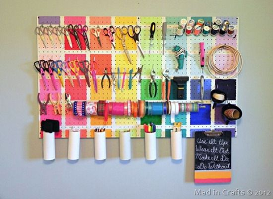 9 Ways To Get On Board With Pegboard Craft Organization Craft