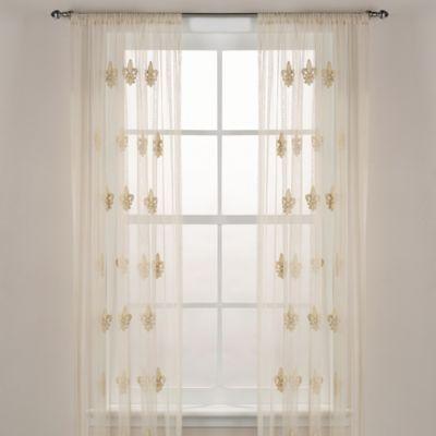 Fleur De Lis Sheer Window Curtain Panel In Ivory Panel Curtains