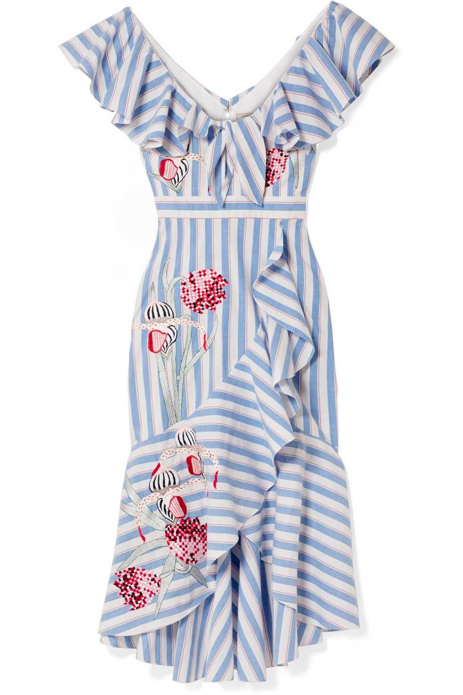 Bella Embroidered Striped Cotton-blend Midi Dress - Blue Temperley London