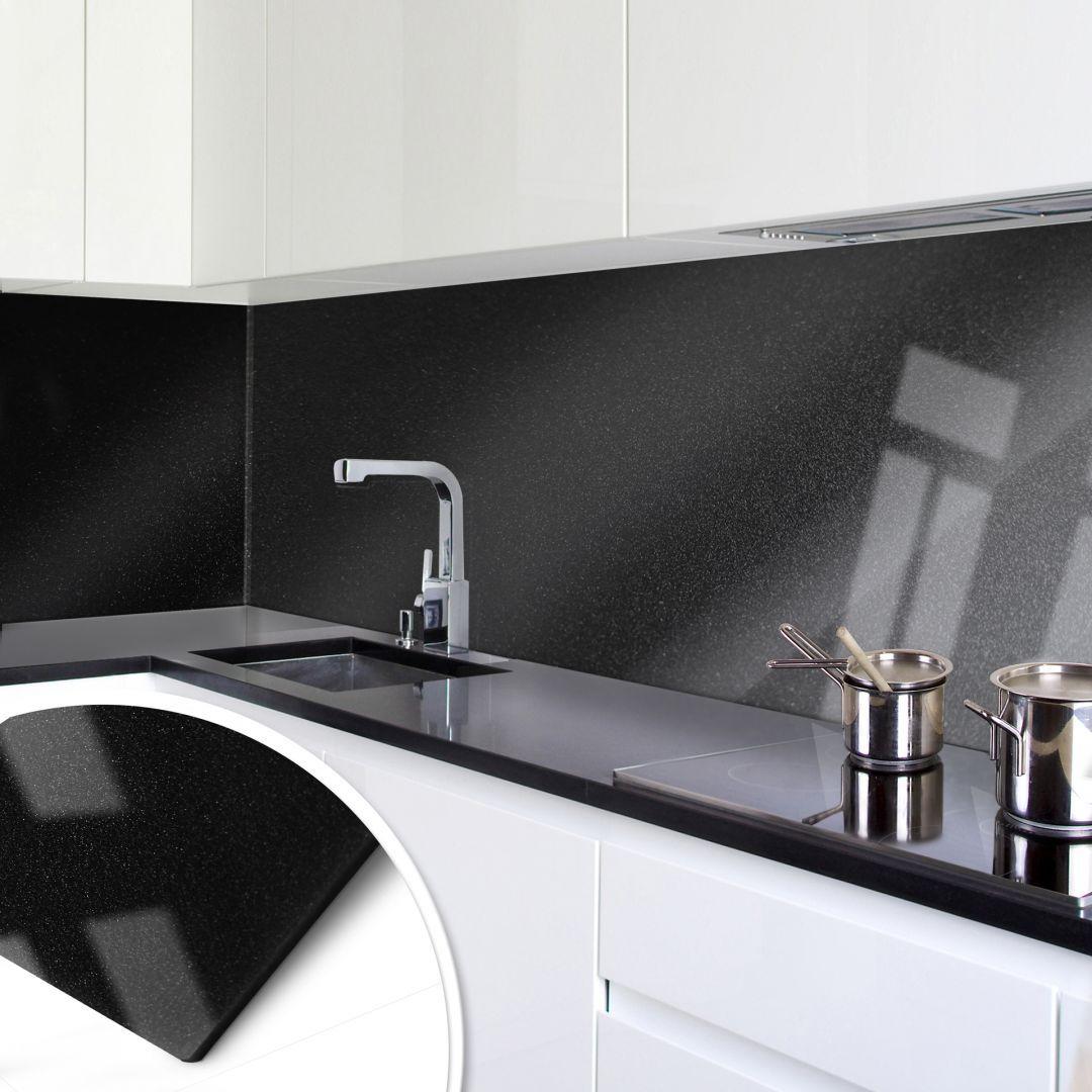 Küchenrückwand - Acrylglas Perleffekt Schwarz in 2019 Küchenrückwand