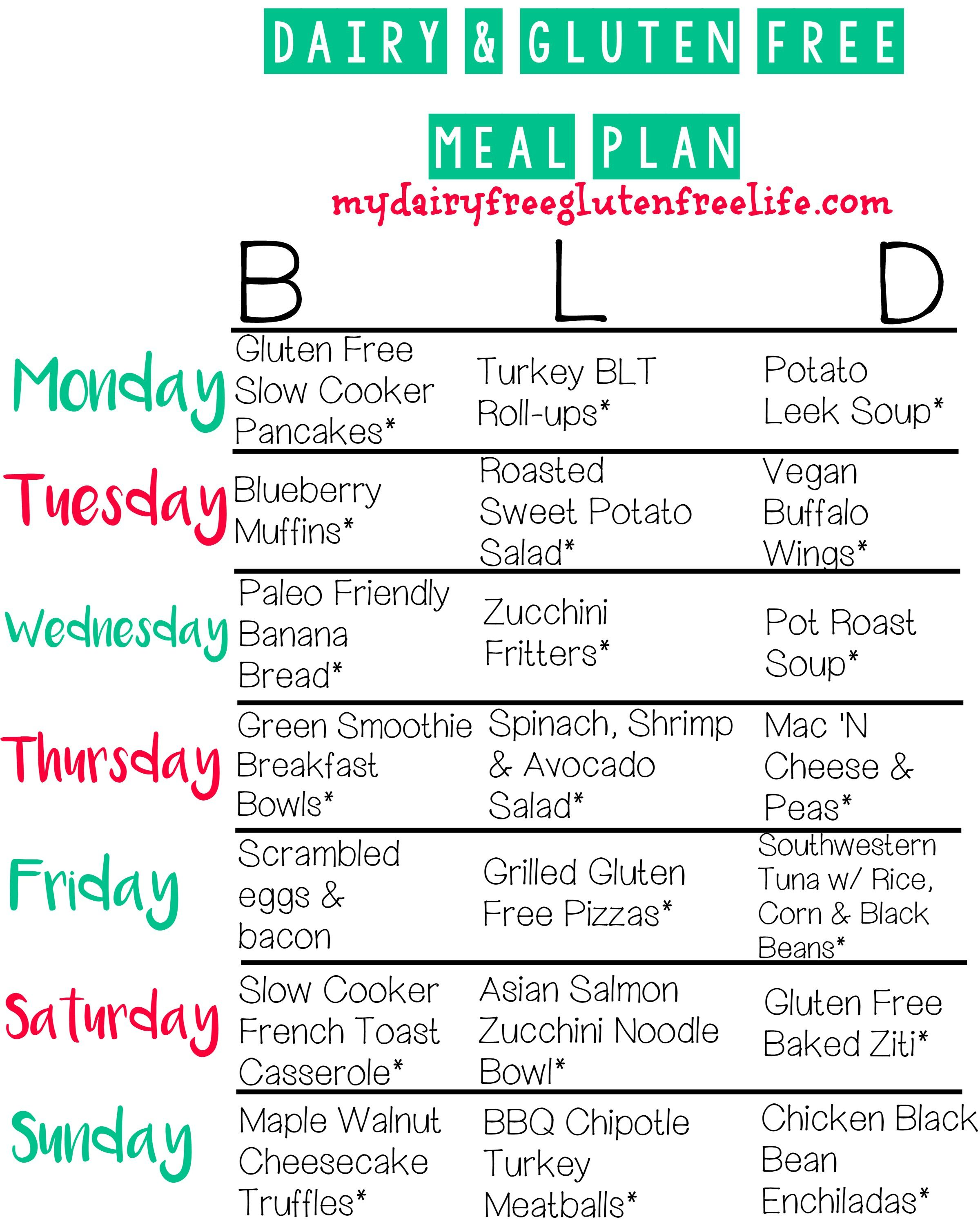Dairy and Gluten Free Meal Plan from My Dairy Free Gluten ...