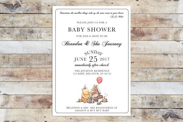 Baby Shower Invitation  Winnie The Pooh  Formal Invitation