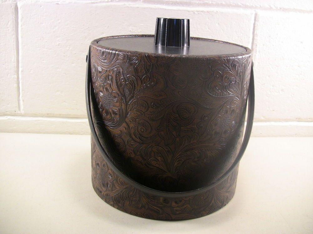 Vintage Barware Mid Vintage Barware Vintage Ice Bucket Vintage Bar Black Brown
