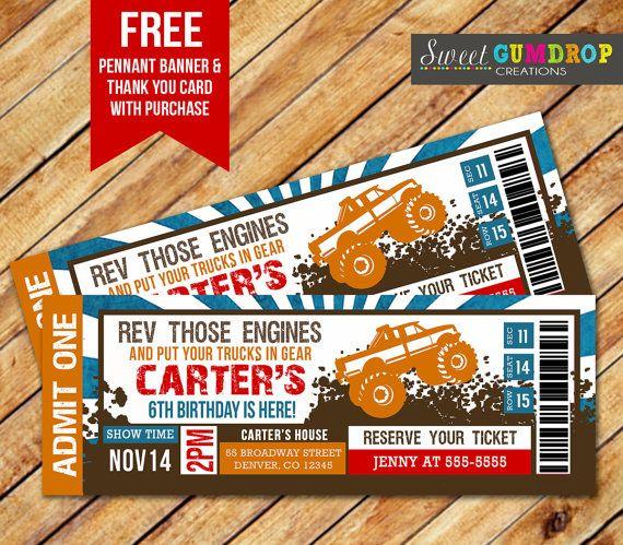 Monster Truck Ticket Invitation Printable FREE By SweetGumdrop