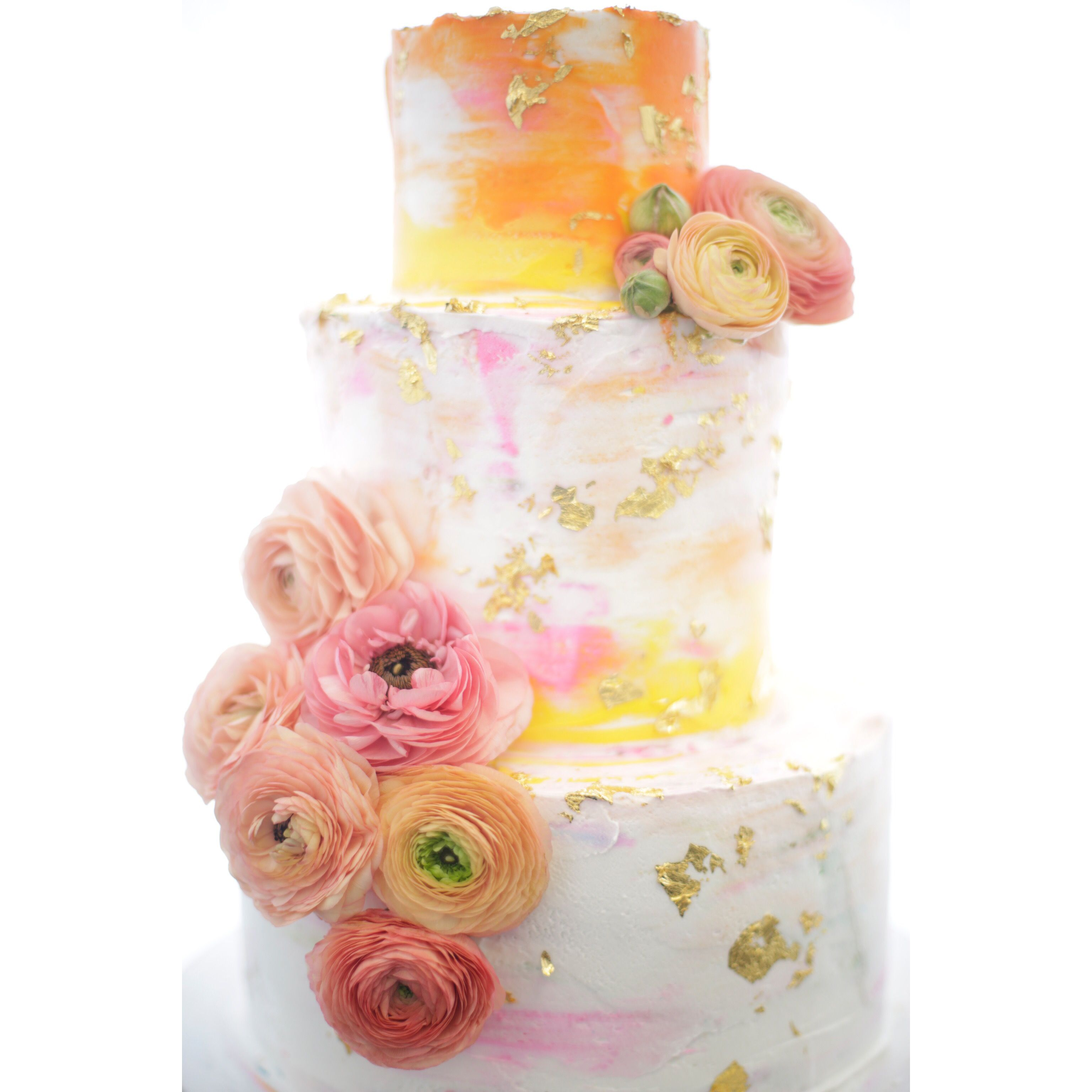 Wedding Cake With Watercolor Buttercream And Gold Flake By Great