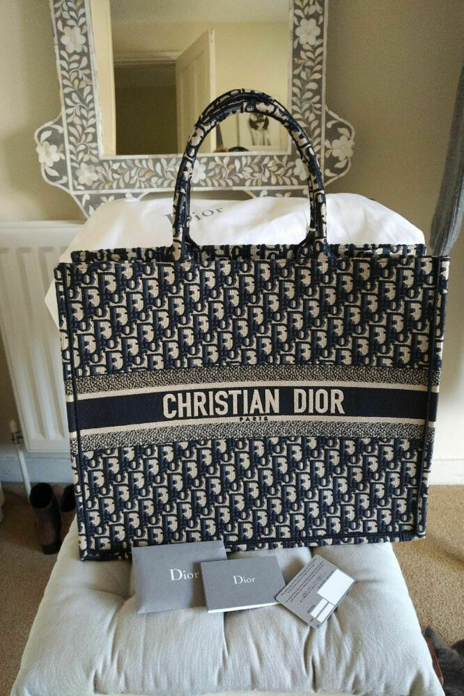 d38f47dc409 New and Authentic Christian DIOR Book Tote Bag in Navy Oblique Canvas 2018  #fashion #