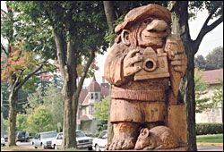 Tourist Troll in Mt  Horeb, WI: lots of carved trolls along the main