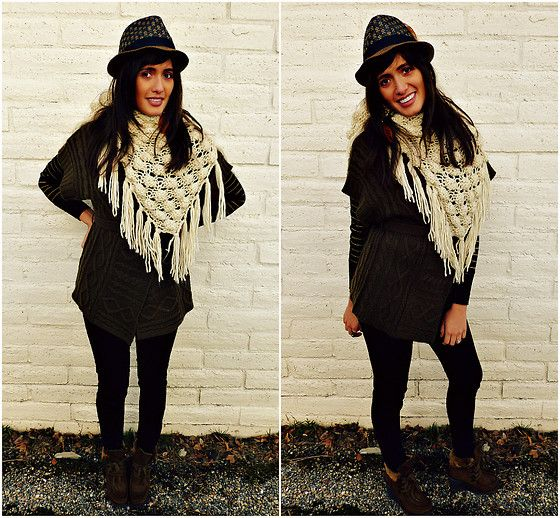 """""""Crocheted scarf and brown fedora"""" by Cecilia H on LOOKBOOK.nu"""