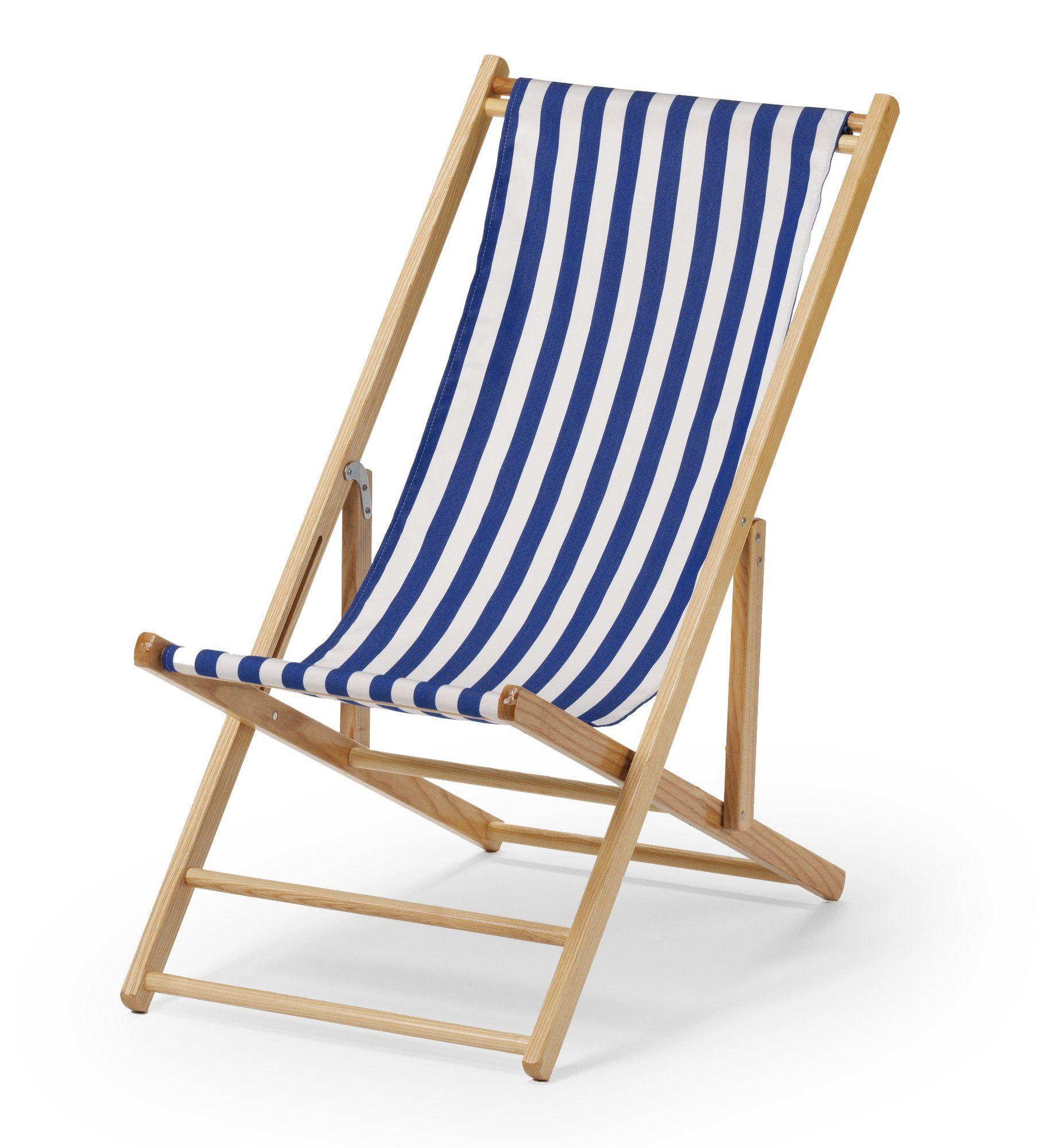 Blue White Stripe Cabana Beach Chair And Sling