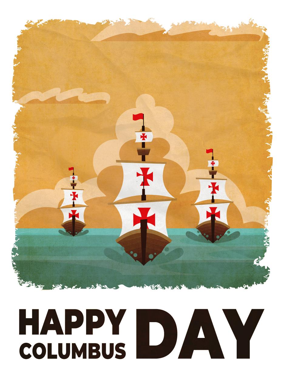 Three Ships Columbus Day Card Birthday Greeting Cards By Davia Birthday Greeting Cards Columbus Day Birthday Greetings