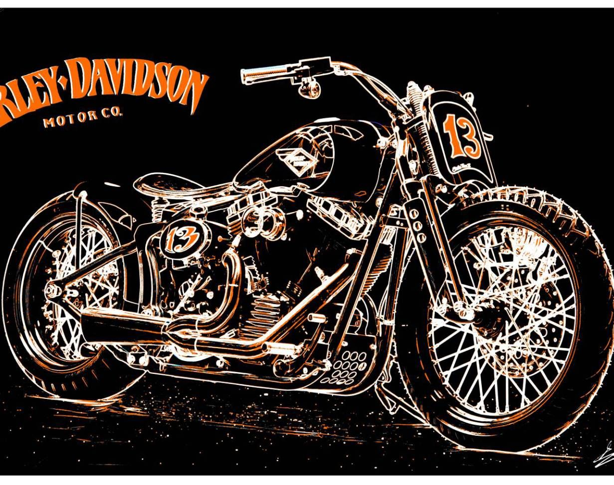 tableau harley davidson moto peinture moderne noir blanc orange peinture acrylique pop art. Black Bedroom Furniture Sets. Home Design Ideas