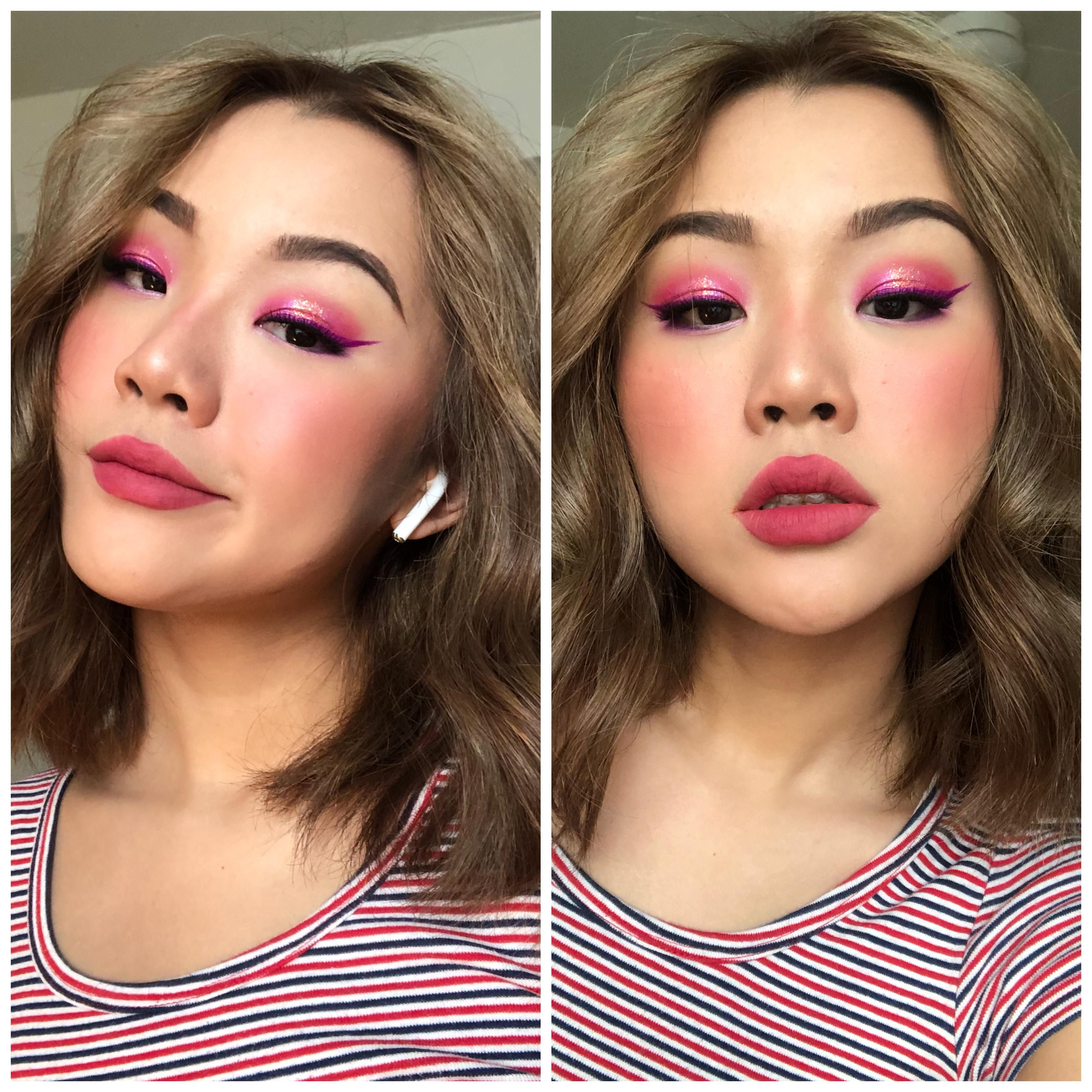 My Take On Egirl Makeup I Guess Pink Glitter A Purple Wing Makeup Beauty In 2020 Makeup Looks Makeup Makeup Alley