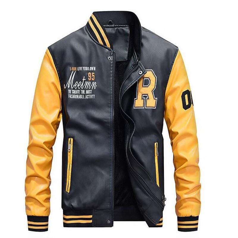 Mens Faux Leather Baseball Jacket Leather Baseball Jacket Pilot Leather Jacket Baseball Jacket Men