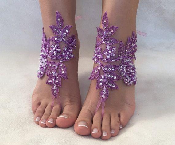 951943f2c21f Purple lace barefoot sandals