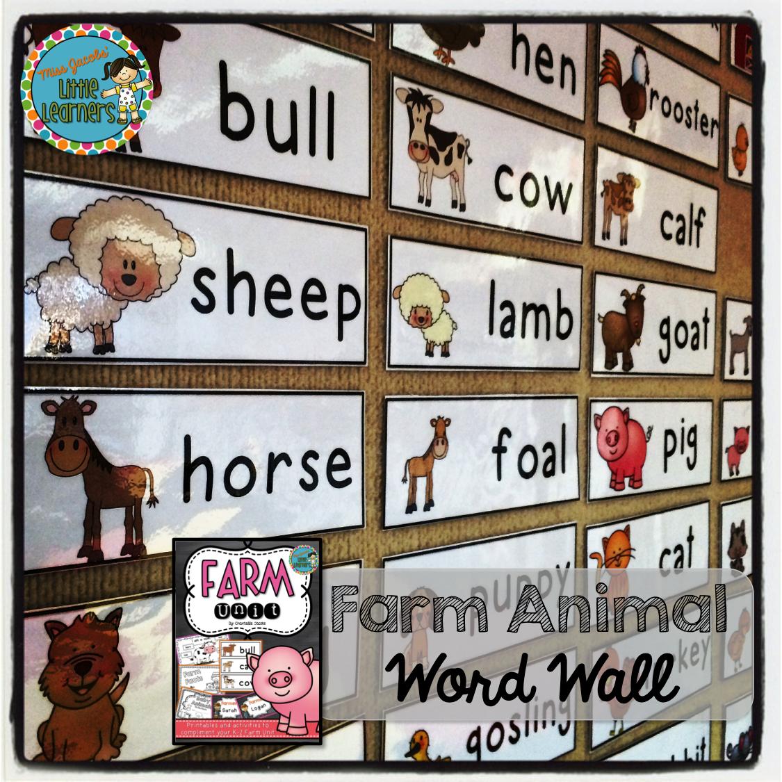 Early Years Farm Unit Farm Animal Word Wall Includes