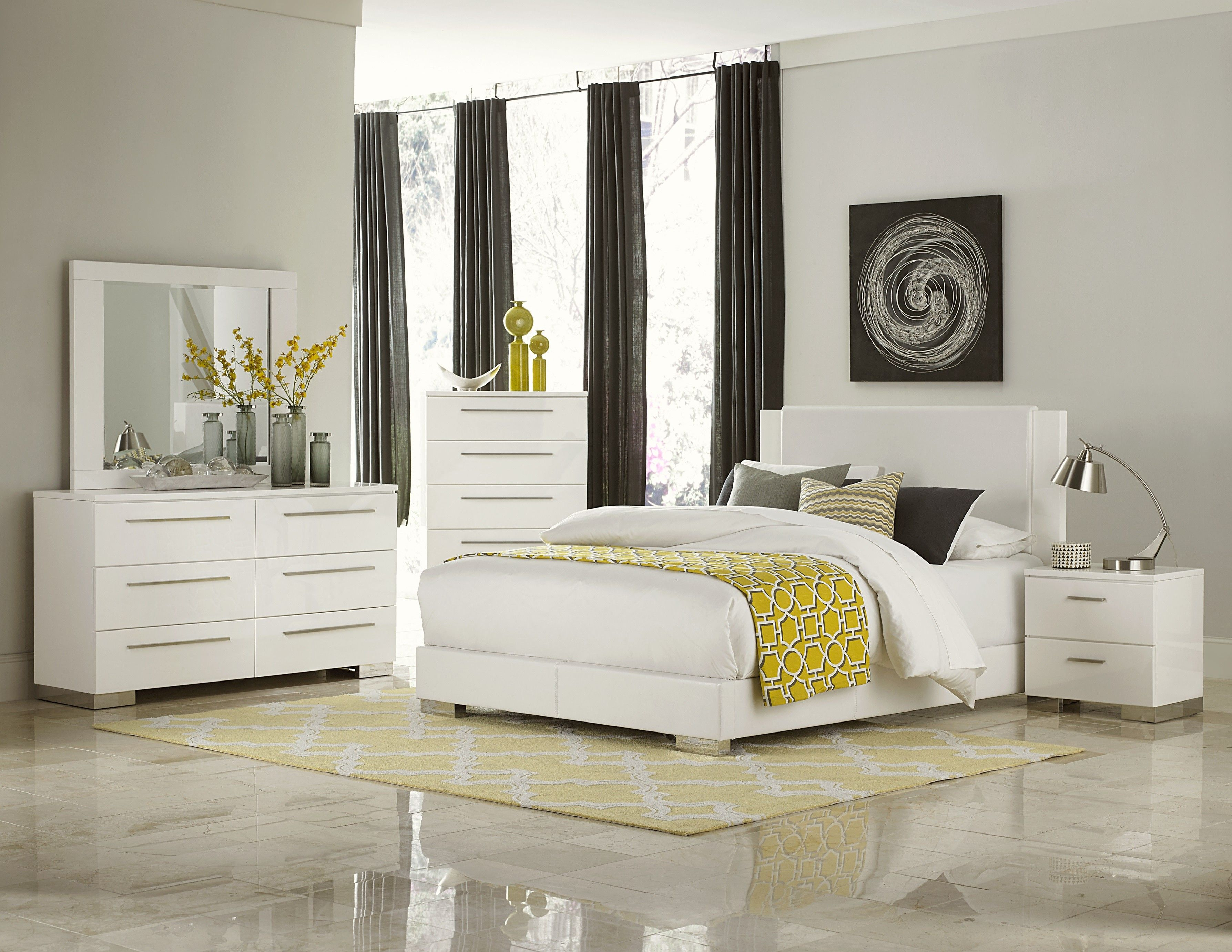 Retro Upholstered White Lacquer Bedroom King Bedroom Sets