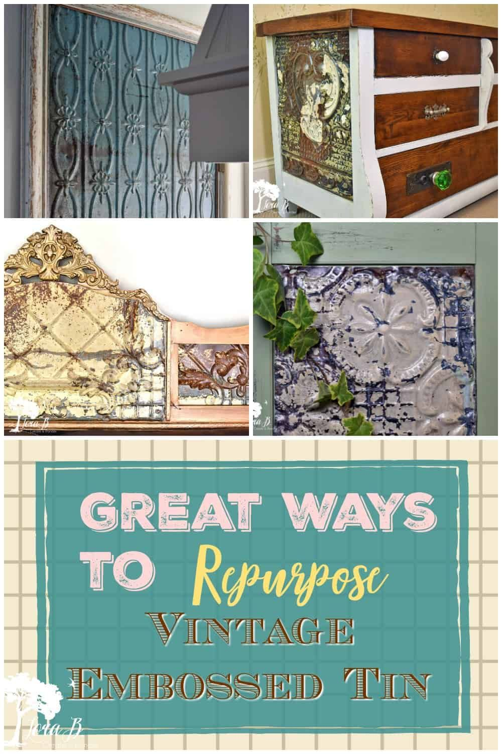 Get great ideas for repurposing and upcycling vintage embossed ceiling tin. It's old patina and character will add beauty to many kinds of DIY projects. #repurposing #vintagetin #embossedtin #frameideas #upcycled #upcyledvintage #repurposedvintage