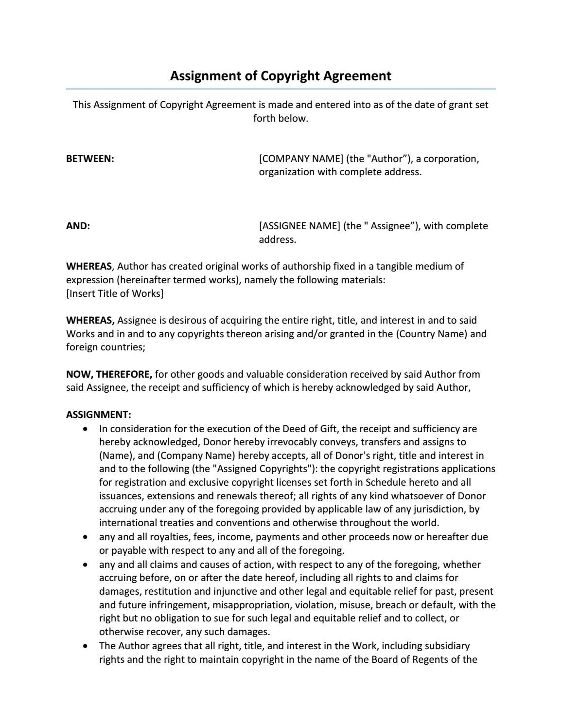 Assignment Of Copyright Agreement