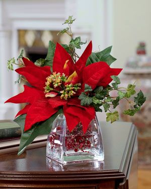 Silk Poinsettia Accent Christmas Flower Arrangements Christmas Flowers Christmas Floral Arrangements