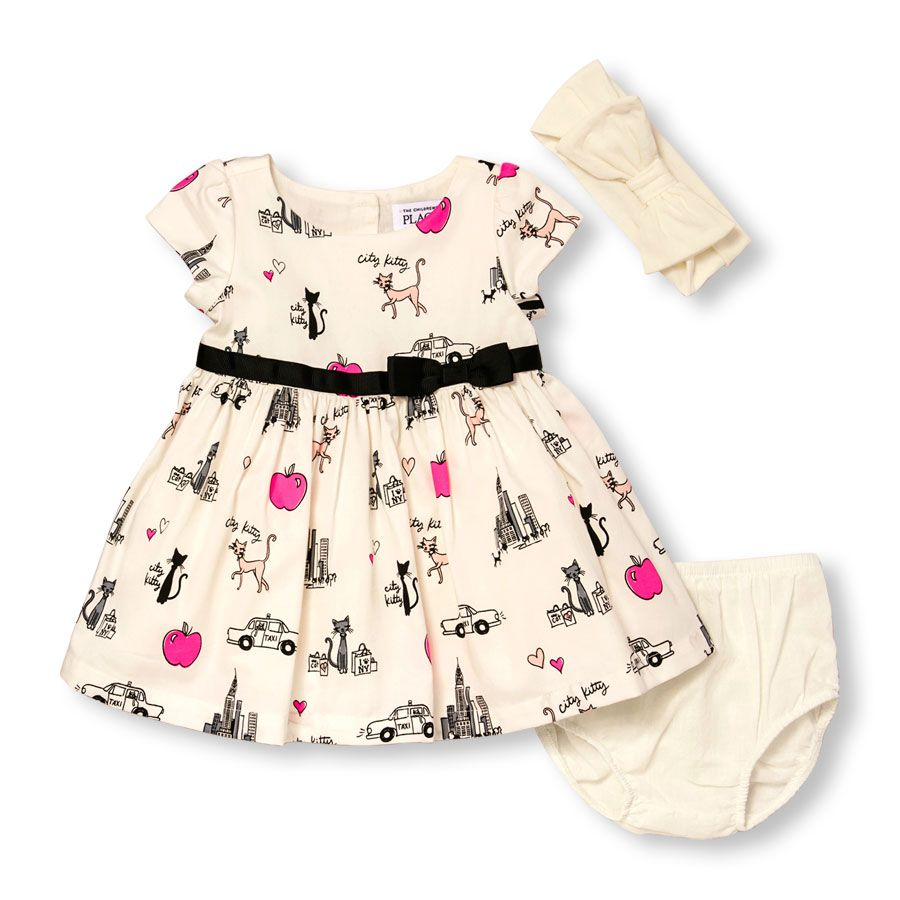 Baby Girls Puff Sleeve City Kitty Print Dress, Headwrap And Bloomers ...