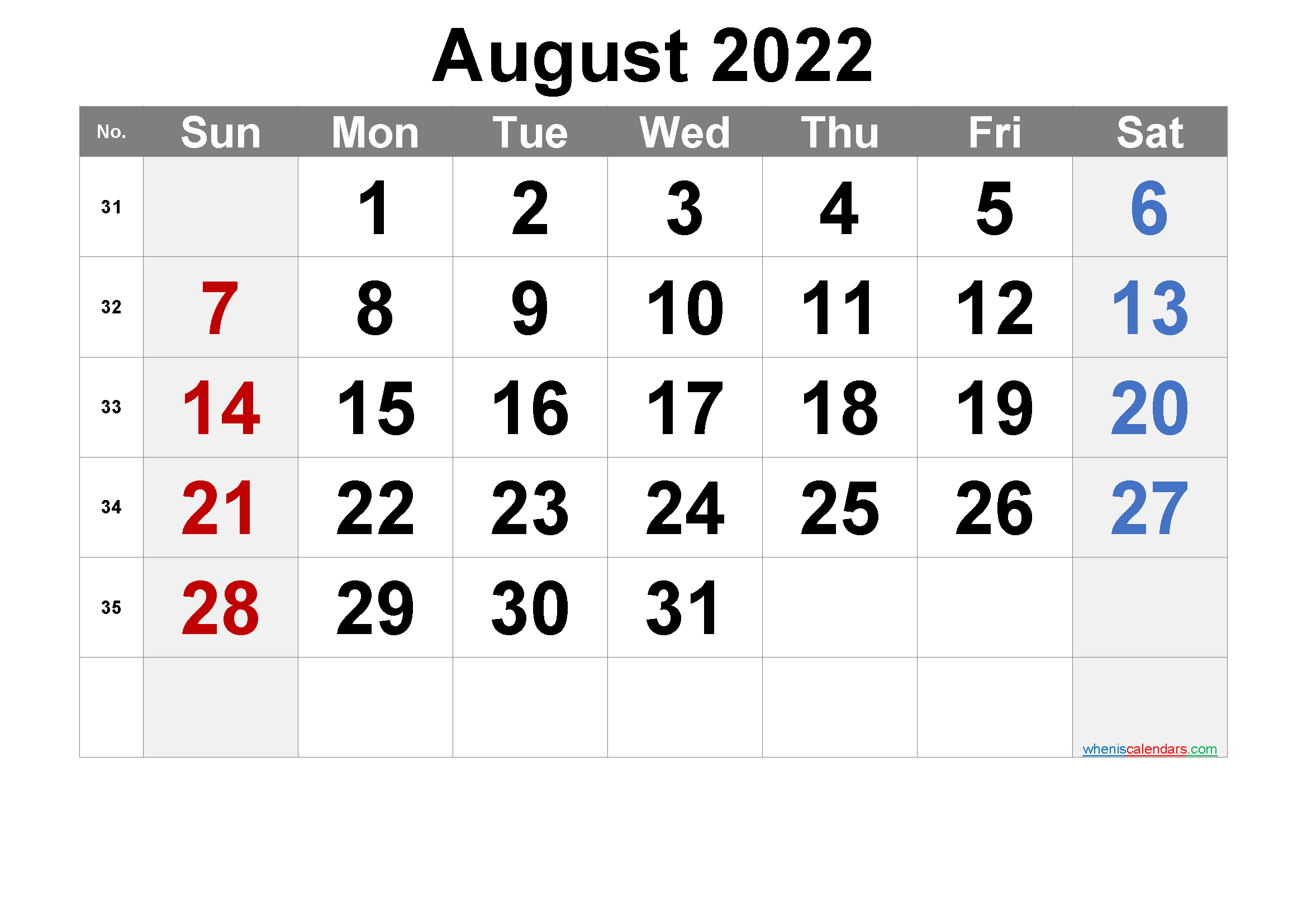 Free August 2022 Calendar Free August 2022 Calendar Overview Month August Year 2022 Font Arial In 2020 Calendar Printables Printable Calendar Numbers 2021 Calendar