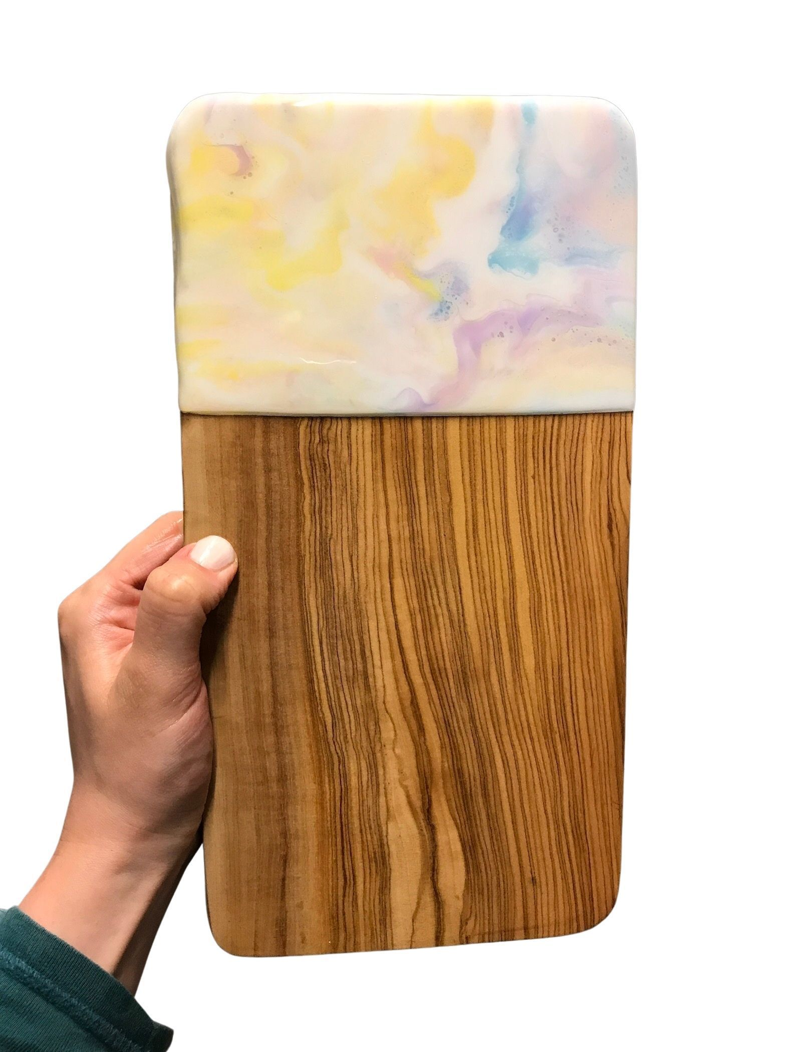 Pastel Tones Resin Art Chopping Board 30cm - Pastels Home Decor