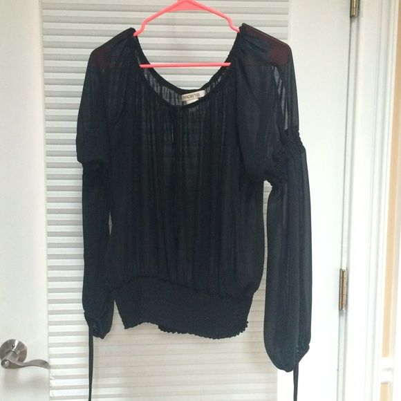 Sheer Long Sleeve Peasant Top Sheer top with banded waist and long sleeves Tops Blouses