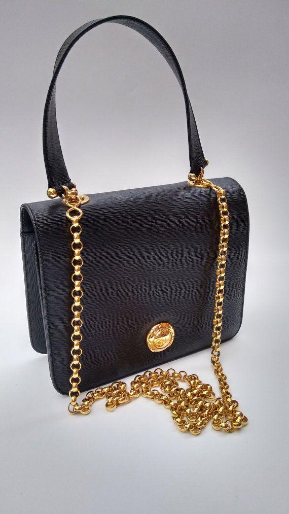 6bc00d4f7e55 CHLOE Chloé Vintage Black Epi Leather Shoulder by Sophiashop123 Gianni  Versace