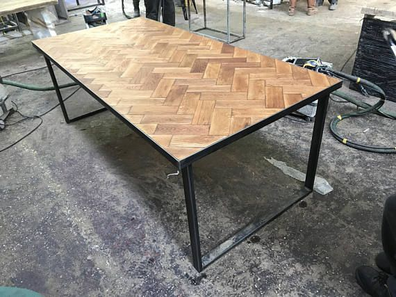 Reclaimed Solid Oak Parquet Industrial Chic 6 8 Seater Dining