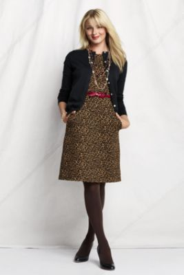Women's Sleeveless Pattern Ponté Welt Pocket  Dress