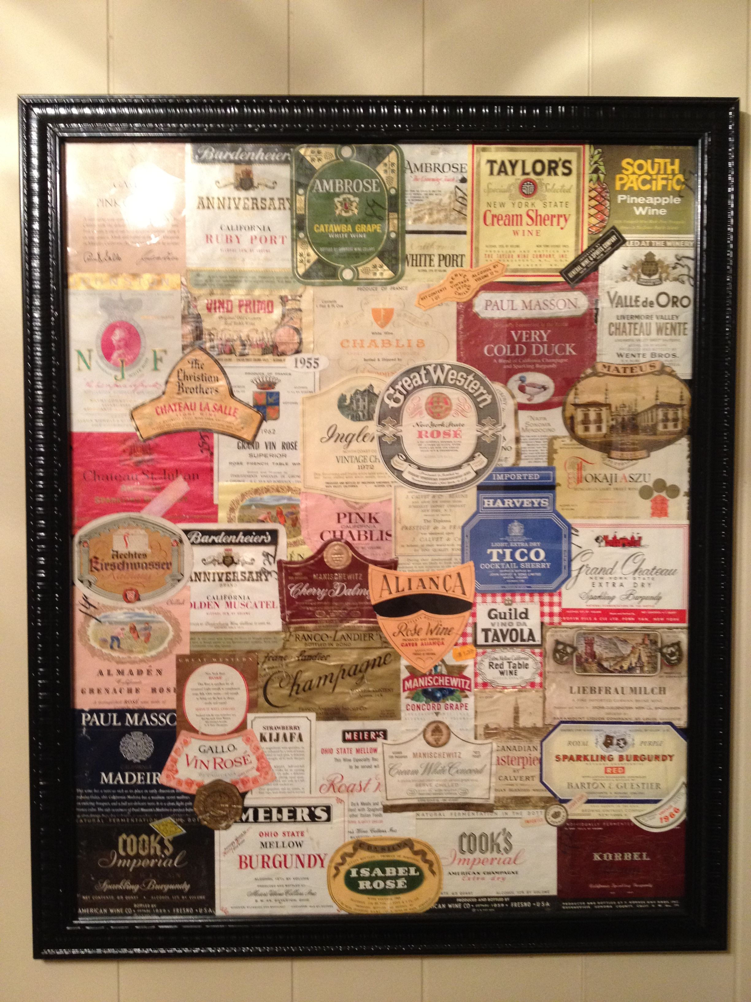 Pin By Shannon Clark On Things I Have Made Wine Bottle Art Wine Label Art Framed Wine Labels