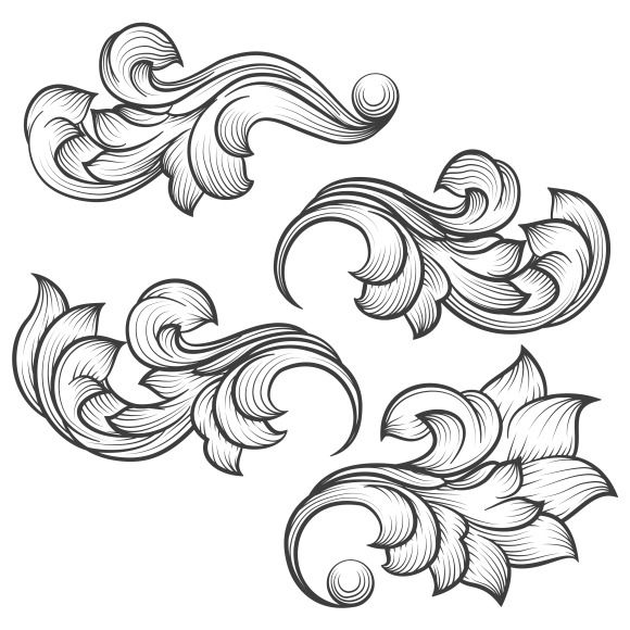 Baroque engraving leaf scroll on creativework247 creative designs typography design design - Wandgestaltung jugendstil ...