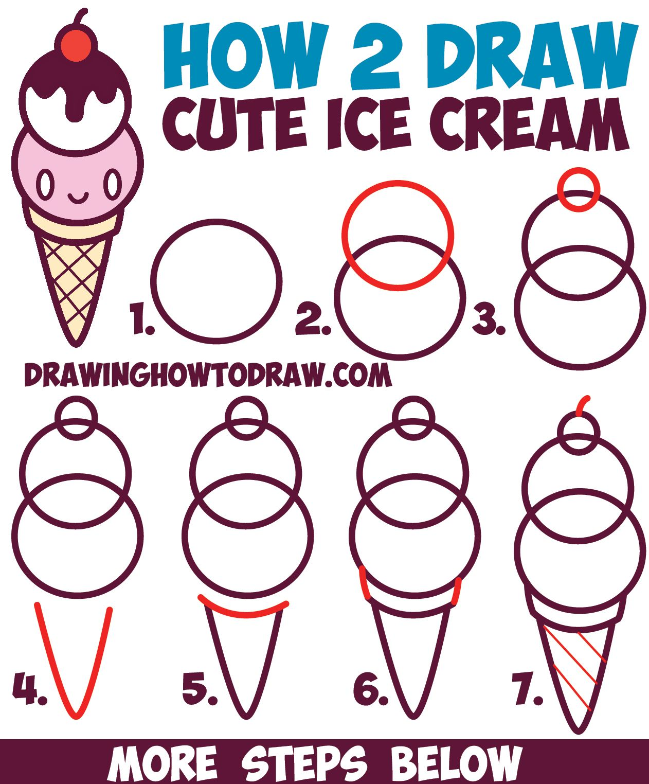 How To Draw Cute Kawaii Ice Cream Cone With Face On It Easy Step